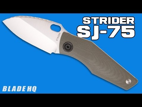 "Strider SJ75 Mini Titanium Framelock Knife w/ Green G10 (3"" Black Plain)"