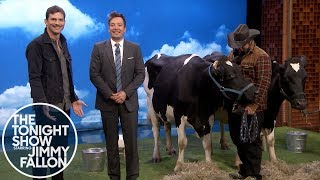 Ashton Kutcher and Jimmy Have a Cow Milking Contest