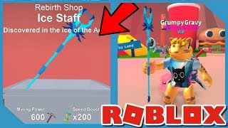 BUYING *NEW* ICE STAFF IN ROBLOX MINING SIMULATOR
