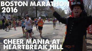 Boston Marathon 2016-Cheering at Heartbreak Hill