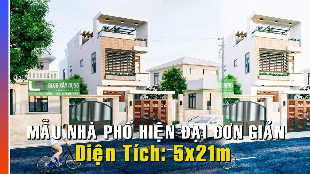 [VIdeo] Chi tiết Mẫu Thiết Kế Nhà Phố Hiện Đại 5x21m 2,5 Tầng chỉ 1.2 tỷ đồng