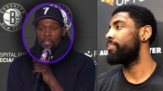 """Kevin Durant Tells Reporter """"I Will Comeback THIS SEASON"""" And Kyrie Irving REACTS! Nets Press Day"""
