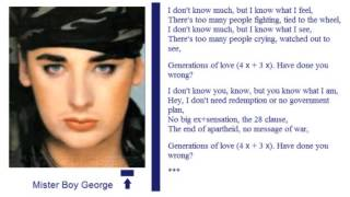 The song of Generations of Love of Mister Boy George