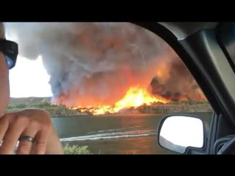 Firenado turns into Water Spout