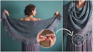 Pemberley - Jane Austen Inspired Crochet Shawl Pattern! Learn Spike Stitches