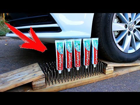 EXPERIMENT: CAR vs TOOTHPASTE and 300 Nail Bed