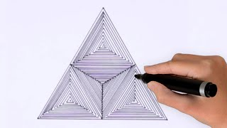 How To Draw Geometric Triangle Art ! 3d Drawing Art ! Optical Illusion ! Spirograph Tutorial