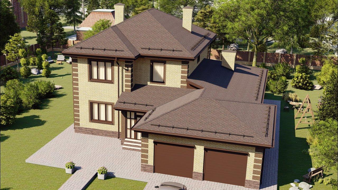 Проект большого двухэтажного дома с гаражом на 2 авто