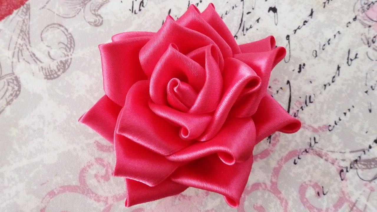 ROSA DI STOFFA ♥ Romantica rosa con nastro di raso ♥ VIDEOTUTORIAL