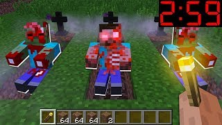 NOOB CAME TO THE CEMETERY A MINUTE BEFORE 3:00AM (2:59AM)! IN MINECRAFT : NOOB vs PRO