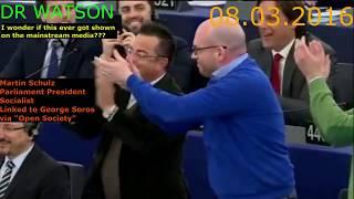EU ERUPTS IN ANGER WHEN SPEAKER SCHULZ ATTACKS ANTI-EU MEPs - ENJOY THE BACKLASH-NOT ON MSM