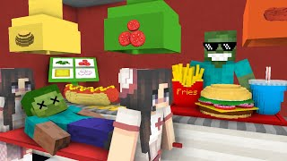 Monster School: WORK AT BURGER & HOT DOG PLACE! - Minecraft Animation