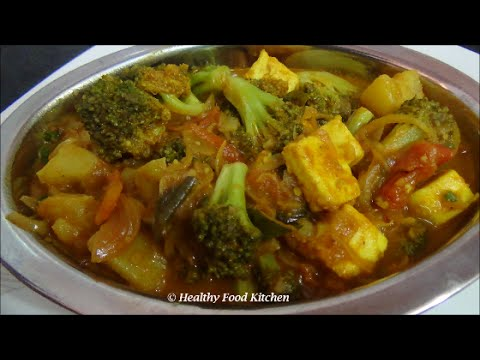 Aloo Broccoli Sabzi with Paneer-Potato Broccoli Curry Recipe-Broccoli Recipe By Healthy Food Kitchen