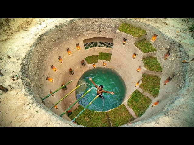 Build Most Amazing Secret Ancient Underground Deep Pool With House