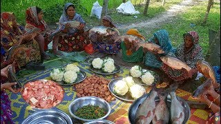 40 KG, 11 Pieces Of Big Silver Carp Fish Cutting & Cooking By 15 Women For Whole Village People