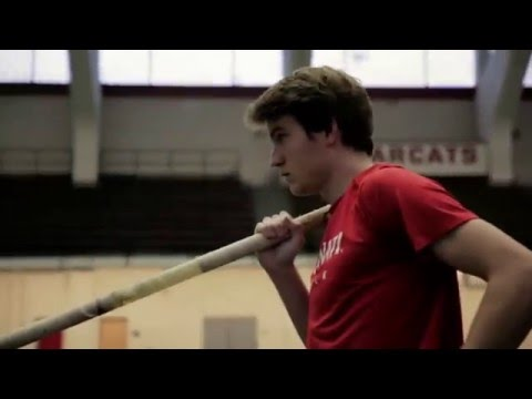UC Bearcats Pole Vaulter Adrian Valles Demonstrates a Jump