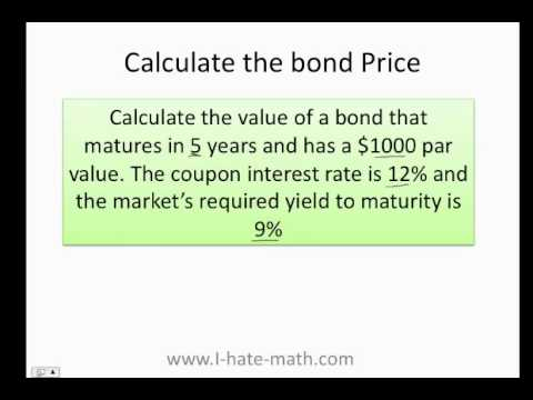How to calculate the bond price and yield to maturity