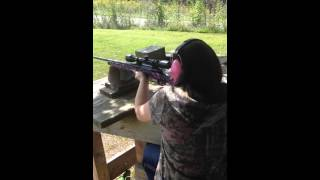 My Wife Shooting Her Pink Muddy Girl Camo Savage Axis .243 Pt 1