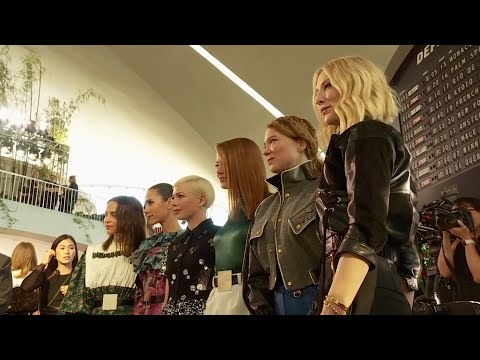LouisVuitton's star squad of Emma Stone, Cate Blanchett and Julianne Moore took in Nicolas Ghesquière's sculptured and textured '80s designs at the old TWA terminal at JFK Airport. (May 9)