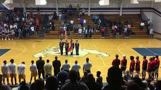 Due to a PA system Failure, National Anthem does not play at Highschool Basketball Game. Both crowds
