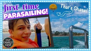 FIRST TIME PARASAILING!!  PUNTA CANA VACATION DAY TWO