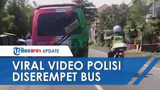 Detik-detik Polisi Disenggol Angkot hingga Jatuh di Jalan Raya, Sopir Coba Hindari Operasi Yustisi