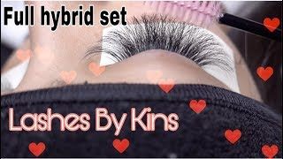 HYBRID EYELASH EXTENSION TUTORIAL* HOW TO* LASHES BY KINS
