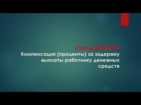 30. Компенсация (проценты) за задержку выплаты работнику денежных средств