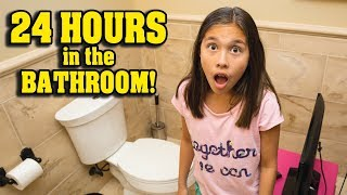 24 HOURS IN THE BATHROOM CHALLENGE!!! Gaming & Dinner on the Toilet!  NOT CLICK BAIT!!