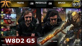 Fnatic vs Splyce | Week 8 Day 2 S8 EU LCS Summer 2018 | FNC vs SPY W8D2