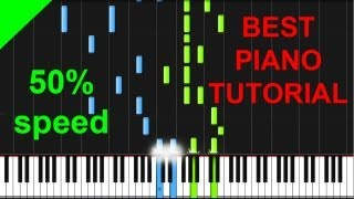 Benny Benassi - Cinema (skrillex remix) 50% speed piano tutorial