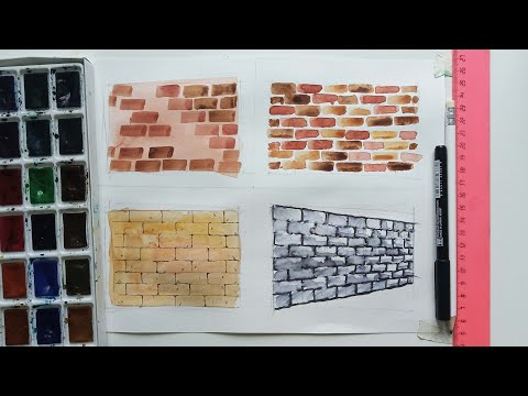 Осваиваем разные техники рисования акварелью кирпичной стены + в перспективе