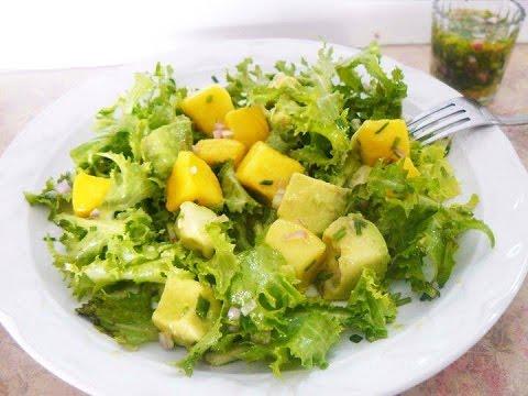 Cómo preparar una rica Ensalada de mango con vinagreta de pimientos