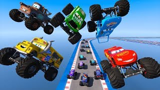 Race Cars Monster Trucks McQueen Miss Fritter The King Chick Hicks Mater And Cars Friends