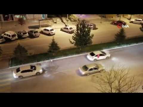 Erzurum'da yüzlerce araç konvoy yaparak İsrail'e tepki gösterdi