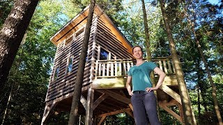 Treehouse-Style Cabin On Stilts In The Forest And Canoe Paddling! (4K) Day 1