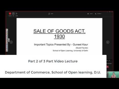 B Com 2nd Semester Part 2 of 3 Parts SALE OF GOODS ACT