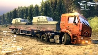 Spin Tires Dev Demo July 2013 - Orange Kamaz + Trailer Transporting 2 UAZ Part 1