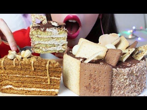ASMR TIRAMISU CAKE   Chocolate Cake SOFT Eating Sounds