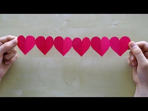Einfache Kette mit Herzen basteln mit Papier ❤ DIY Geschenke selber machen