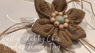 Rustic Shabby Chic Burlap Flower With Wooden Beads DIY
