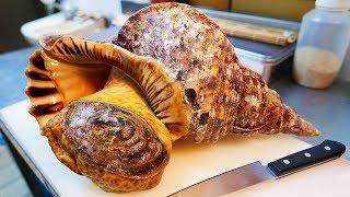 日本路邊小吃 - 巨大的海螺生魚片 沖繩島海鮮