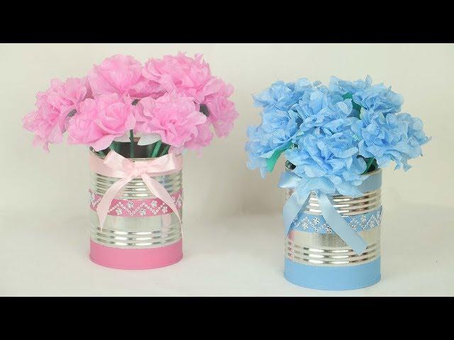 Decoração Fácil Flores De Guardanapo E Latas Decoradas Cantinho