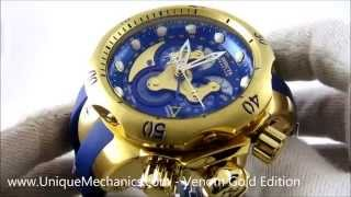 Invicta 14465 Venom Mens Gold Plated Stainless Blue Dial Chrono Watch