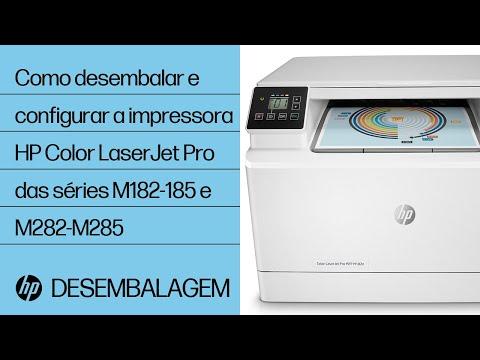 Como desembalar e configurar a impressora HP Color LaserJet Pro das séries M182-185 e M282-M285