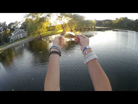 Dusk fishing for bass in shallow grassy pond   Creme and Mepps