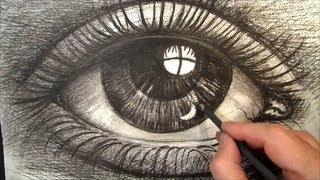 Drawing  Eye With Charcoal, Artistic Graphic