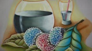 Pintura em Tecido;Hortênsias e Transparência.Parte.:1/3