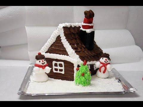 Как испечь торт в виде зимней избушки