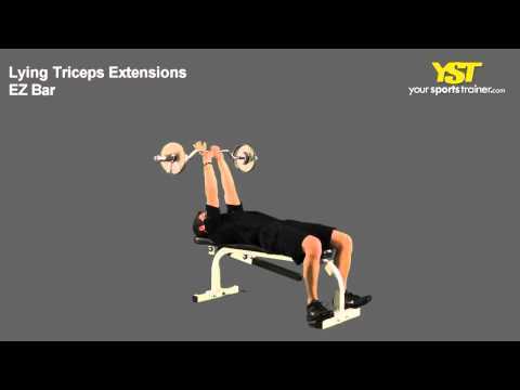 Lying Triceps Extensions EZ Bar